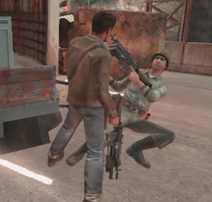 Mac fighting with soldier