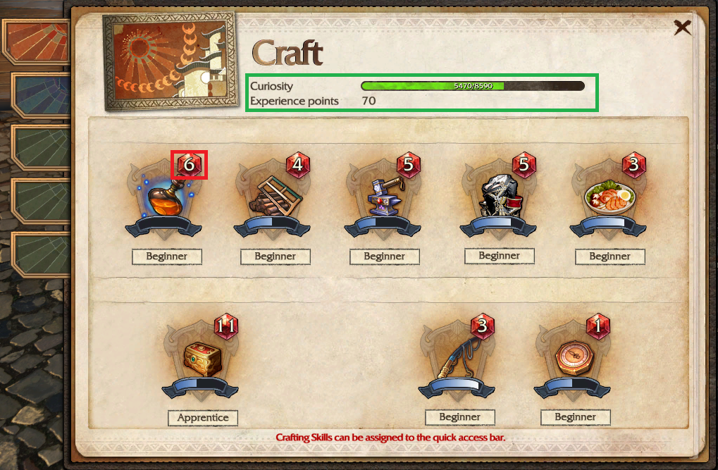 Craft book revelation online wikia fandom powered by wikia on the first page you can see your crafting skill levels red square and your curiosity and experience green square publicscrutiny Gallery
