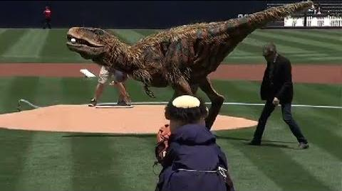 Dinosaur Throws Out First Pitch at Padres Game