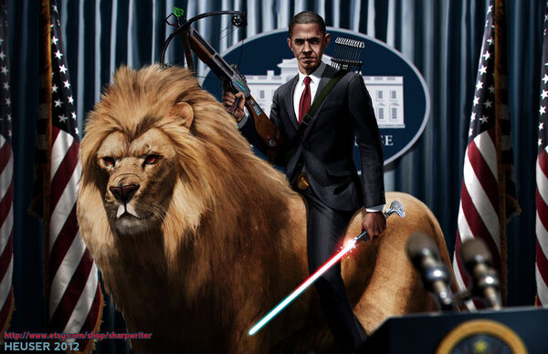 Obama riding a lion by sharpwriter-d5ftze6-1-