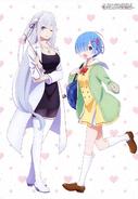 Emilia y Rem - Ilustración