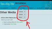 Rickipedia other media tab