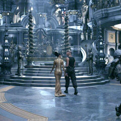 Dame Vaako and Riddick approaching the Lord Marshal's throne