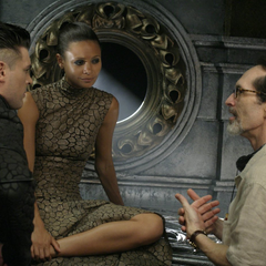 David Twohy with actor Karl Urban and actress Thandie newton