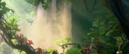 Birds(spix's macaws)near the waterfall