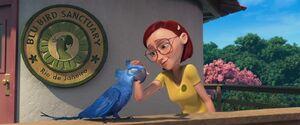 Linda stroking Blu