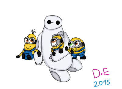 Baymax and the minions (crossover) by dulcechica19-d8ez298