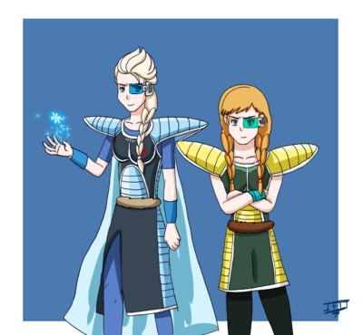 Frozen dbz anna and elsa with saiyan armor by jackfrostoverland-d8pfmnp