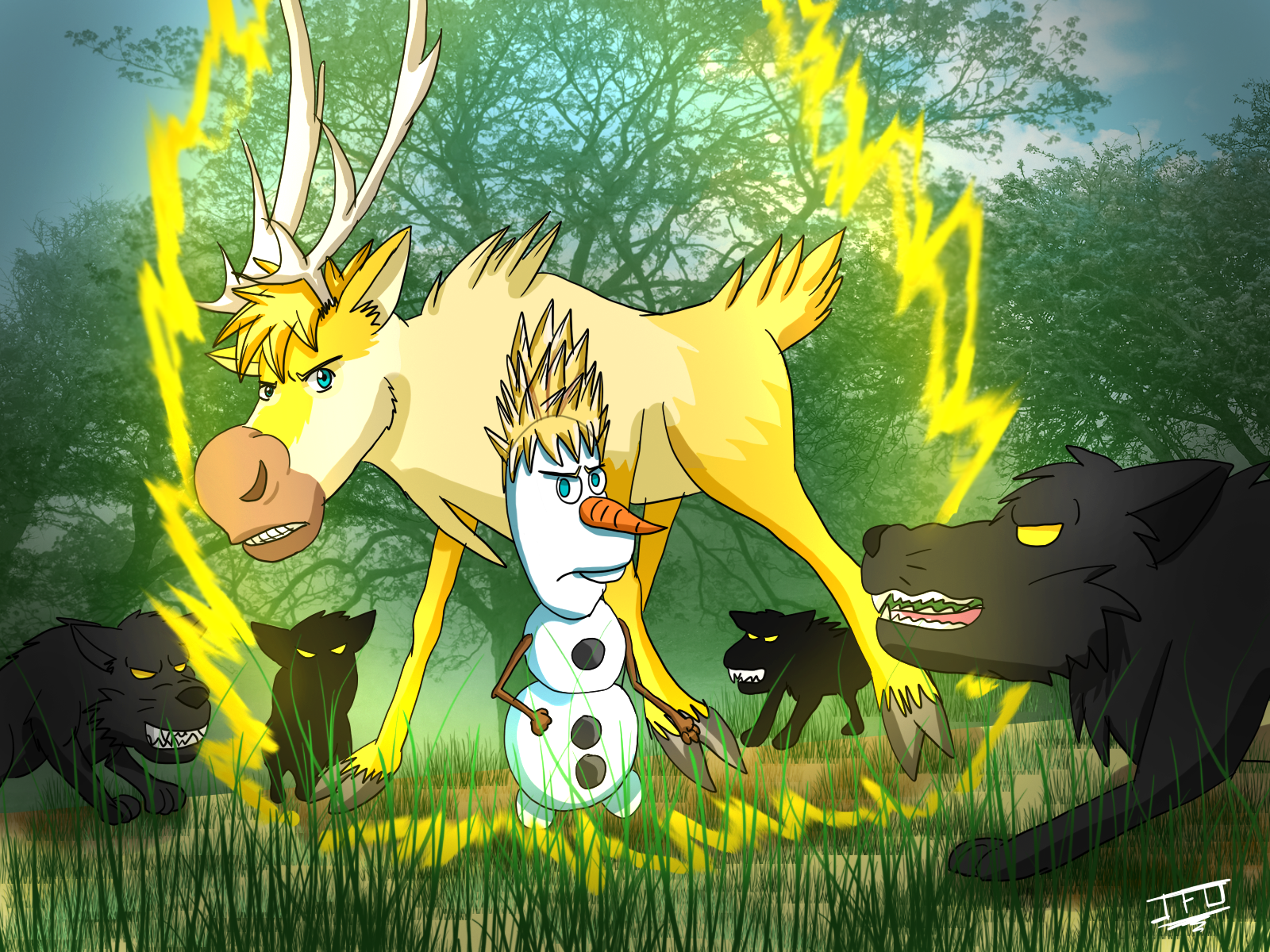Image - Frozen dbz fun sven and olaf as super saiyans by ...