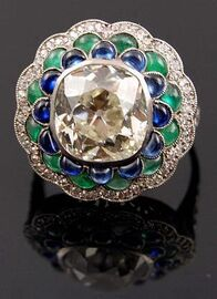Platinum old mine diamond emerald sapphire ring 1340399264