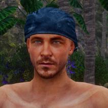Blaues Kopftuch