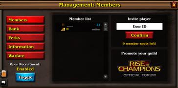 Guild leader menu