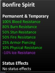 Bonfire spirit stats