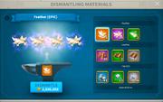 In-game Dismanteling Materials Menu