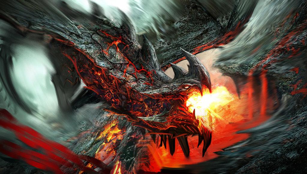 fire dragon wallpaper black