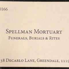 Carte de visite du Funérarium Spellman