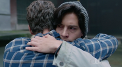 Season 1 Episode 7 In a Lonely Place Jughead hugging FP