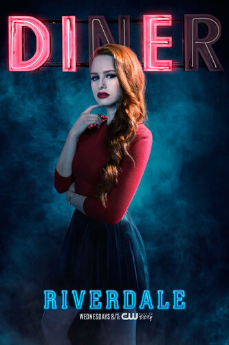The pin cherry red Cheryl Blossom ( Madelaine Petsch) in Riverdale S01E08