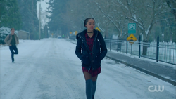 Season 1 Episode 9 La Grande Illusion Valerie walking in the snow