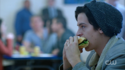 Season 1 Episode 13 The Sweet Hereafter Jughead eating burger