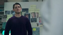 Season 1 Episode 5 Heart of Darkness Kevin in front of murder board