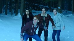 Season 1 Episode 13 The Sweet Hereafter Archie, Jughead, Betty, and Veronica at River