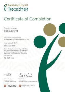 IELTS Cert. Cambridge