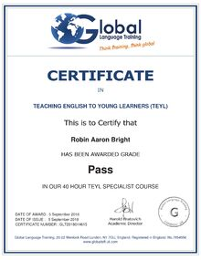 Teaching English To Young Learners (TEYL) Certificate