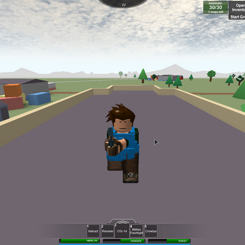 A player crouching on top of Vernal's school.