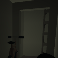 A red bicycle stuck in the Bunker.