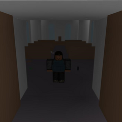 A player standing inside the church