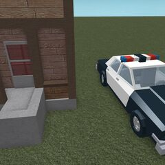 A police car in the new style. It appears to be a Dodge Diplomat.