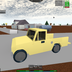 A player driving a pickup truck during the thanksgiving update.