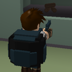 A survivor with a black military pack.
