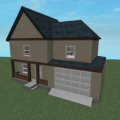 An exterior shot of 2 floor house which includes a garage and a front porch.