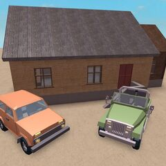 Two vehicles in the new style next to a house in the old style.