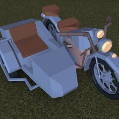 A motorcycle with a sidecar in the new style. This appears to be a Honda 350