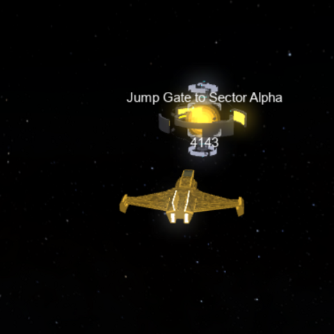 Player flying towards a Jump Gate in a ><a href=