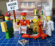 Roblox toys figures minifigures review chef noob pizza