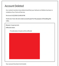 Ban/Account Deletion Termination | Roblox Wikia | FANDOM