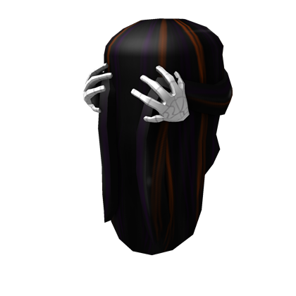 Long Dark Hair with Skeleton Hand Hair Clip | Roblox Wikia ...