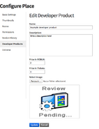 Screenshot of the developer product configuration page