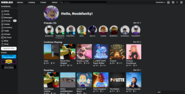 Roblox Current Homepage Layout (Dark Mode)