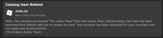 The Jokes Mask RefundMessage
