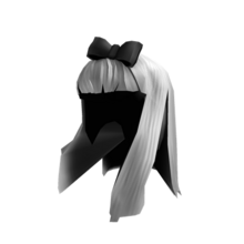 Ghostly White Hair with Black Bow