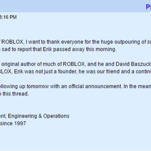 David Roblox Creator Died