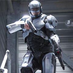 Alex Murphy in RoboCop's silver armor.
