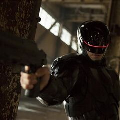 RoboCop armed with his NI-408 in a publicity still