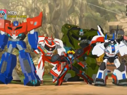 Optimus with Windblade, Ratchet, Bulkhead and Jazz