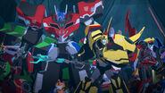 Optimus Prime, Windblade, Toolbox & Bumblebee on Decepticon Island